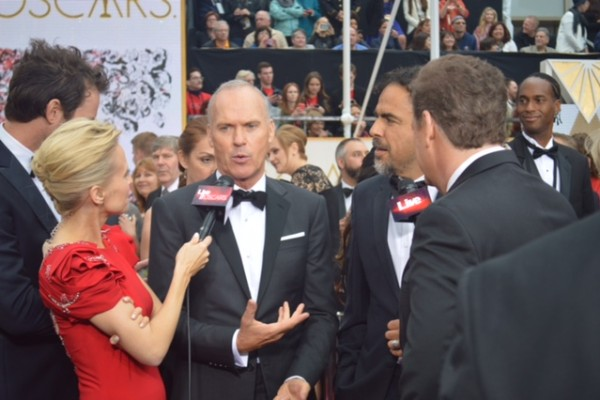 Oscars 2015 and Michael Keaton and Jessica Holmes and Sam Rubin and KTLA TV Anchor & TV Host