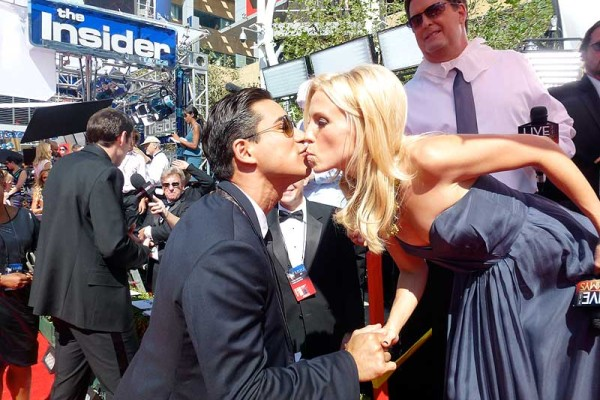 Emmys Red Carpet - Jessica Holmes - KTLA TV Anchor & TV Host with Mario Lopez