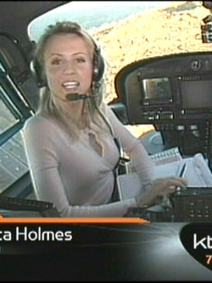 Jessica Holmes KTLA TV Anchor & TV Host in helicopter