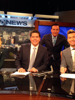 Jessica Holmes KTLA TV Anchor & TV Host with Lance Bass, Sam Rubin, michaela Pereira and Mark Kriski