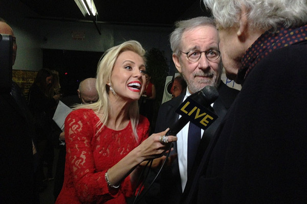 Oscars Red Carpet - Jessica Holmes - KTLA TV Anchor & TV Host with Steven Spielberg and Hal Holbrook