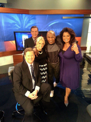 Jessica Holmes KTLA TV Anchor & TV Host with Mike Tyson, Sam Rubin, michaela Pereira and Mark Kriski